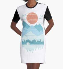 Cabin In The Snow Graphic T-Shirt Dress