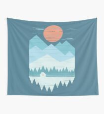 Cabin In The Snow Wall Tapestry