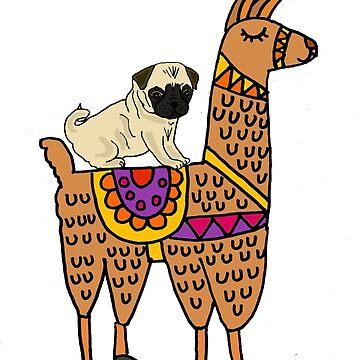 Funny Pug Riding Llama Cartoon by naturesfancy