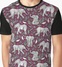 Baby Elephants and Egrets in Watercolor - burgundy red  Graphic T-Shirt