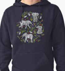 Baby Elephants and Egrets in Watercolor - navy blue Pullover Hoodie
