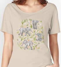 Baby Elephants and Egrets in watercolor - blush pink Women's Relaxed Fit T-Shirt
