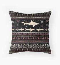 Shark Ugly Christmas Sweater Throw Pillow