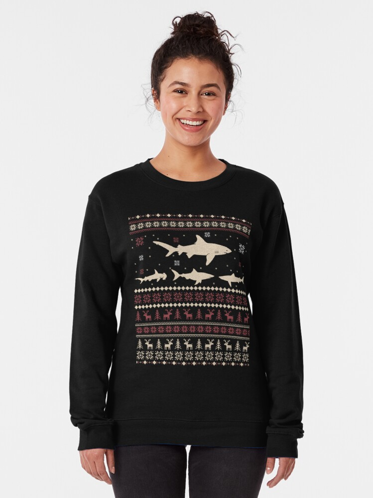 Alternate view of Shark Ugly Christmas Sweater Pullover Sweatshirt