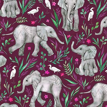 Baby Elephants and Egrets in Watercolor - burgundy red  by micklyn