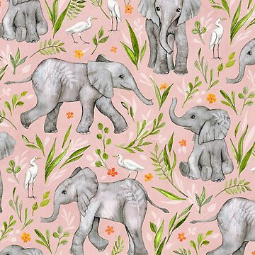 Baby Elephants and Egrets in watercolor - blush pink by micklyn