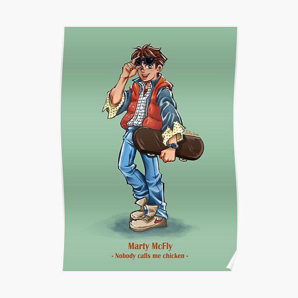 Marty McFly Cartoon Poster