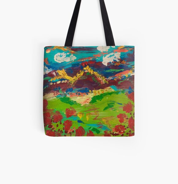 Landscape Poppy Mountains All Over Print Tote Bag