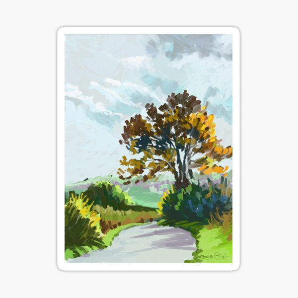 Country Lane in the Autumn Sticker