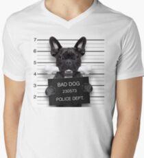 Funny French Bulldog Mugshot T-Shirt Men's V-Neck T-Shirt