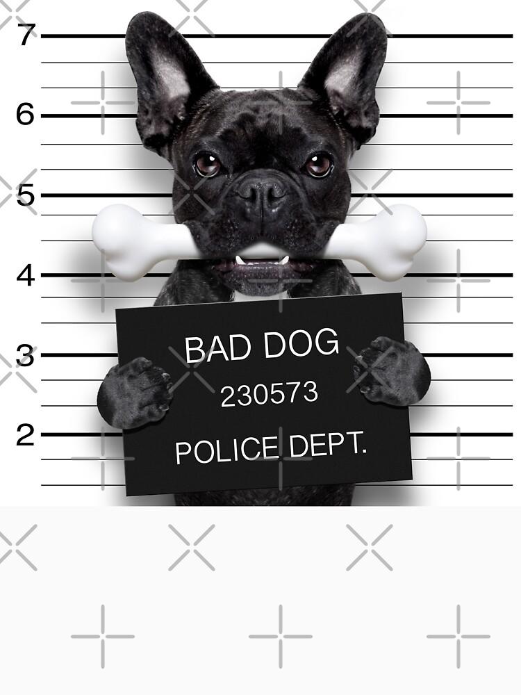 Funny French Bulldog Mugshot T-Shirt by wantneedlove