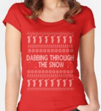 Dabbing Through The Snow - Ugly Christmas Jumper / Sweater Women's Fitted Scoop T-Shirt