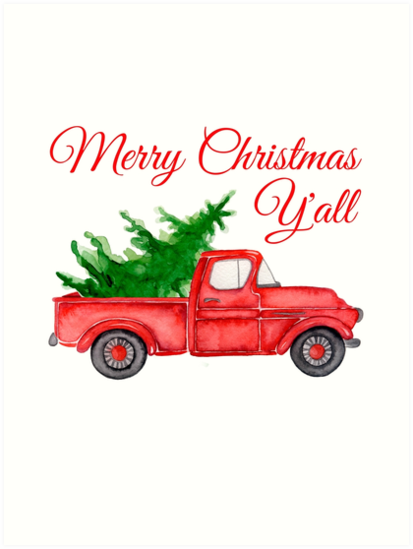 Merry Christmas Yall.Merry Christmas Y All Chrismas Vintage Red Truck With A Tree Art Print By Maryna Denysenko