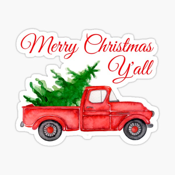 Merry Christmas Y'all Vintage Red Pickup Truck with Farm Fresh Xmas Tree Pajama Gift Sticker