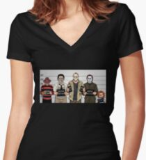 Horror Collage Funny Killer Mugshot Women's Fitted V-Neck T-Shirt