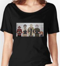 Horror Collage Funny Killer Mugshot Women's Relaxed Fit T-Shirt