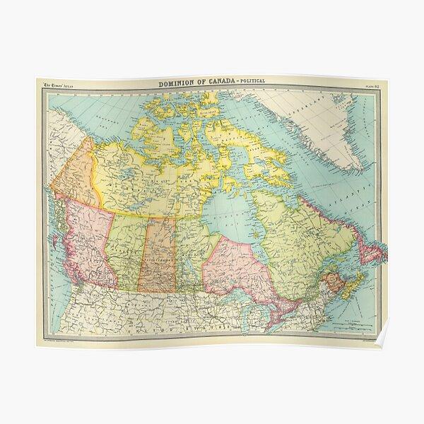 Vintage Karte von Kanada (1922) Poster