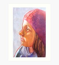Raspberry Beret, watercolor and mixed media on paper. Art Print