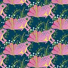 Pink tropical frog florals by purplesparrow