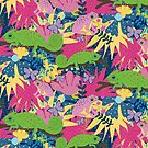 Chameleon and frog tropical florals by purplesparrow