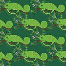 Green jungle chameleon pattern by purplesparrow