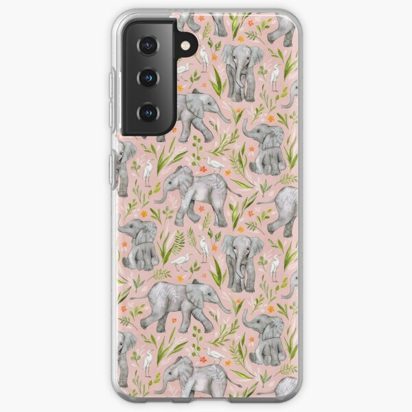Baby Elephants and Egrets in watercolor - blush pink Samsung Galaxy Soft Case