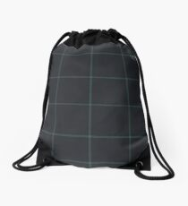Dark Slate Plaid -  Shades of Green Drawstring Bag