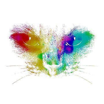 Tie Dye cat face cat eyes Splash art by chardo55