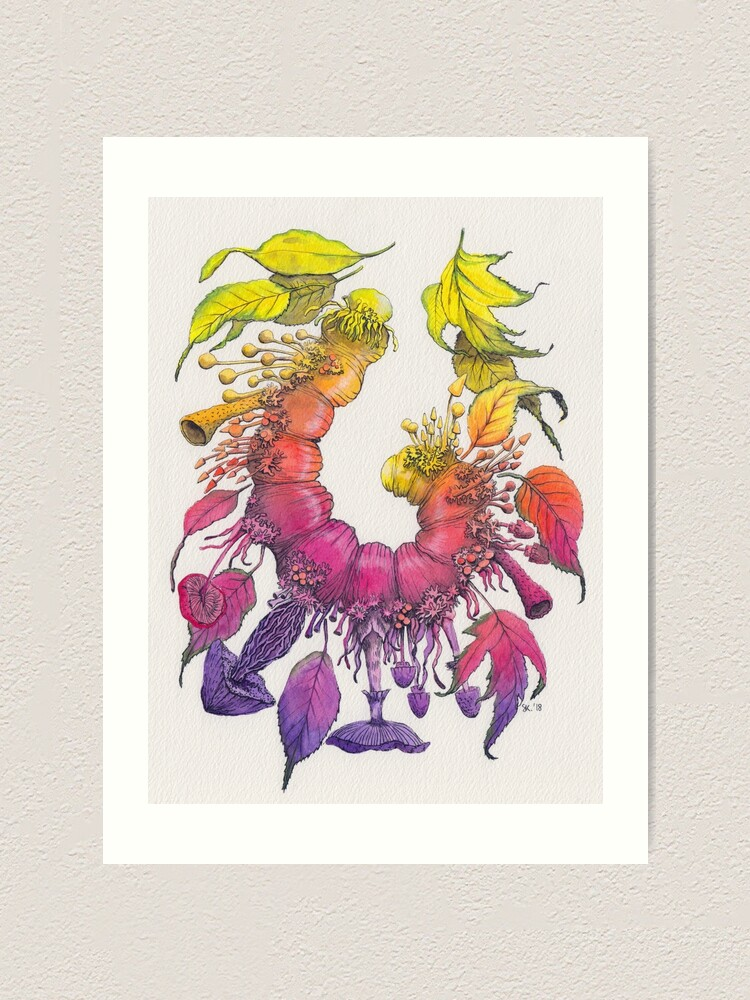 Alternate view of Caterpillar, Leaves and Mushrooms - Change - Watercolor Illustration Art Print