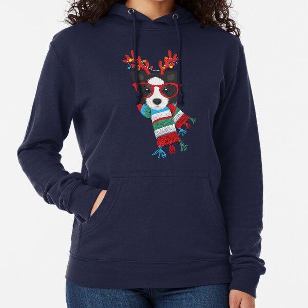 Border Collie Xmas Holidays Reindeer Christmas Lights Lightweight Hoodie
