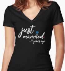 11th Wedding Anniversary Gifts - Just Married 11 Years Women's Fitted V-Neck T-Shirt