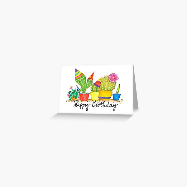 Cactus Birthday greeting card by Nicole Janes Greeting Card