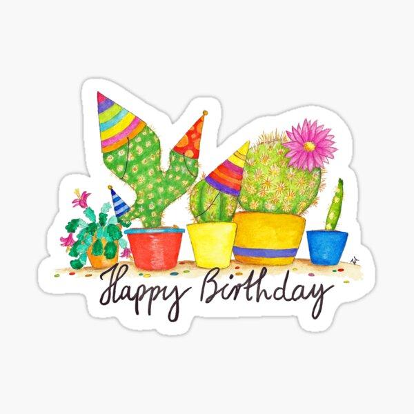 Cactus Birthday  Sticker