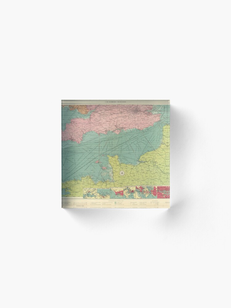 Alternate view of Vintage Map of The English Channel (1922) Acrylic Block