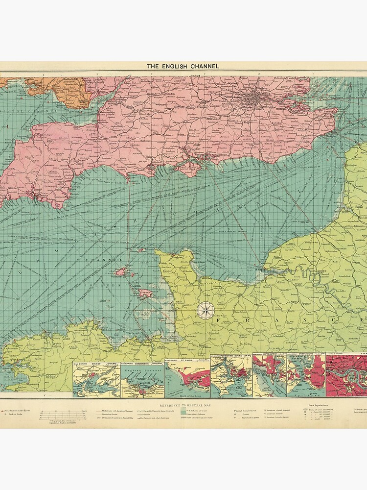 Vintage Map of The English Channel (1922) by BravuraMedia