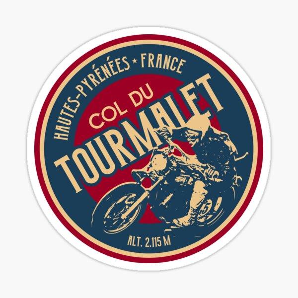 Col du Tourmalet Motorcycle 01 T-Shirt + Sticker - Route des Cols Pyrenees Sticker