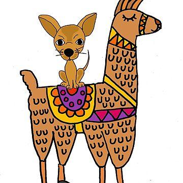 Cute Chihuahua Dog Riding Llama Cartoon by naturesfancy