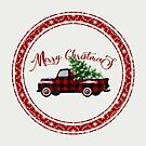 Merry Christmas Vintage Red Plaid Truck by CheriesArt