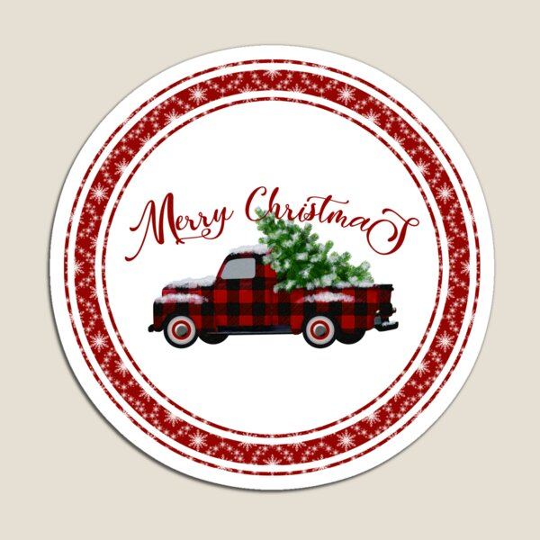Merry Christmas Vintage Red Plaid Truck Magnet