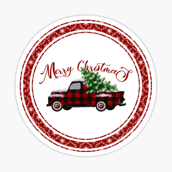 Merry Christmas Vintage Red Plaid Truck Sticker