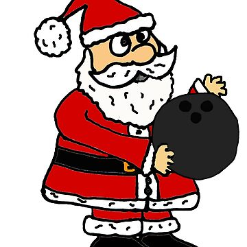 Cute Santa Claus Bowling Cartoon by naturesfancy