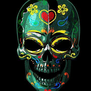 Sugar Skull Colorful Dark - 03 by Skullz23