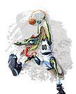 Monstah Flush Dinosaur Basketball Player by MudgeStudios