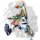 Monstah Flush Dinosaur Basketball Player by MudgeStudios