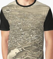 Vintage Pictorial Map of Waukesha WI (1879) Graphic T-Shirt