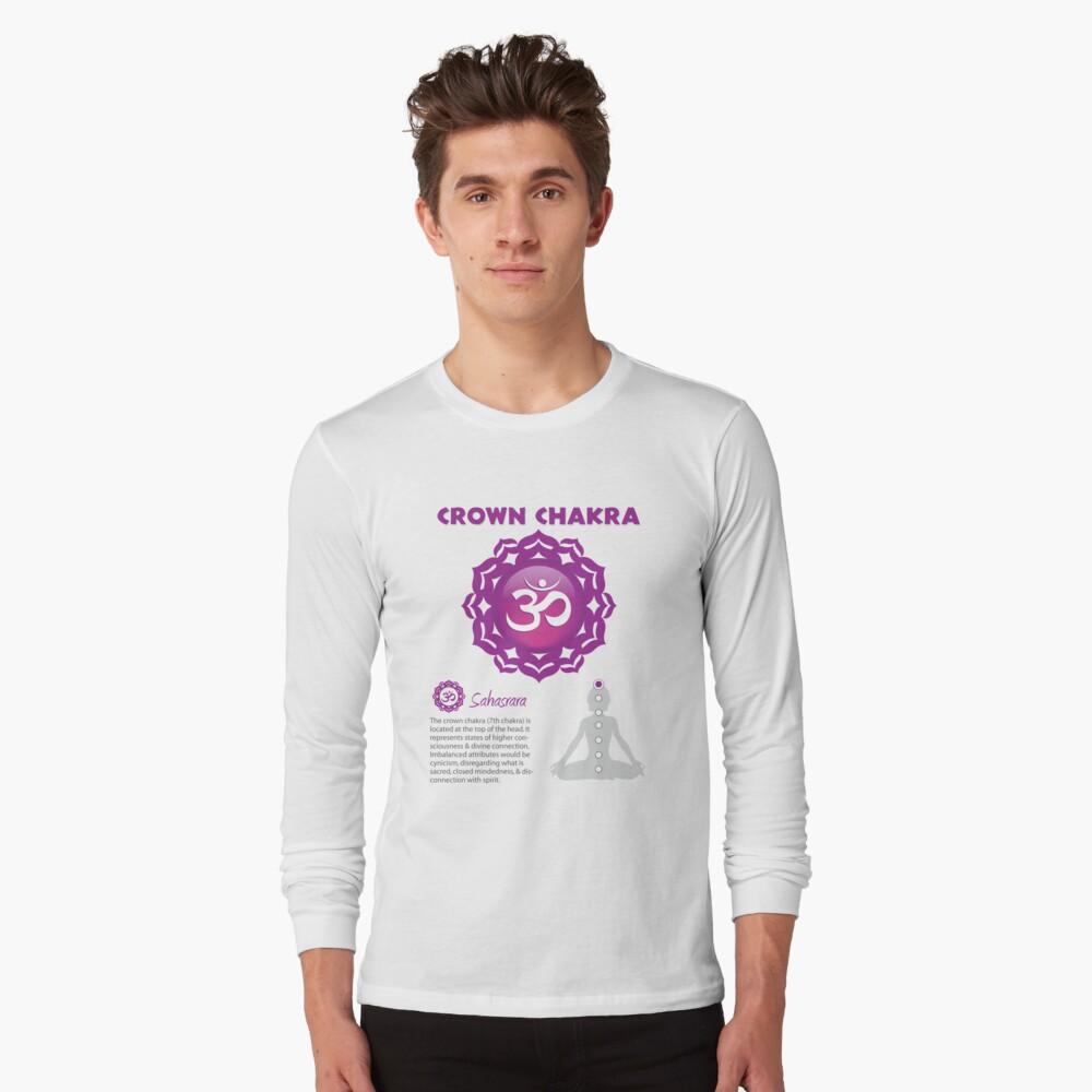 Cartel de chakra de la corona Camiseta de manga larga