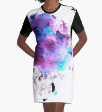 Purple and Blue abstract Graphic T-Shirt Dress