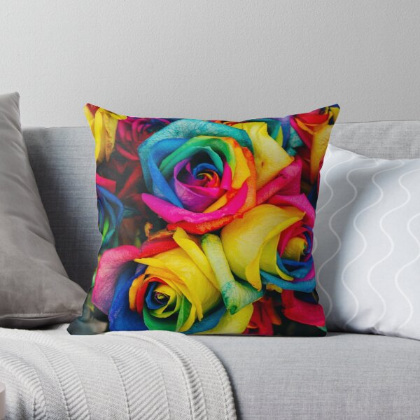 Rainbow Roses Bright Colourful Stunning Throw Pillow