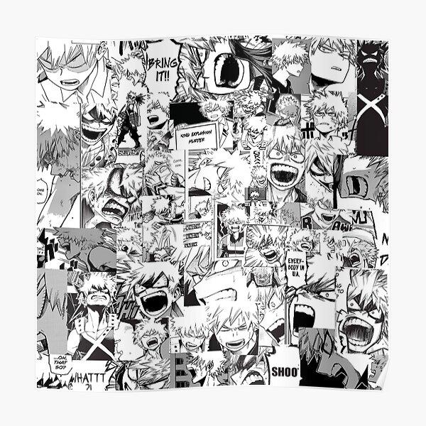 collage de katsuki bakugou en colère Poster