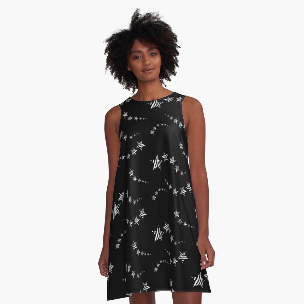 Zebra print monochrome shooting stars A-Line Dress